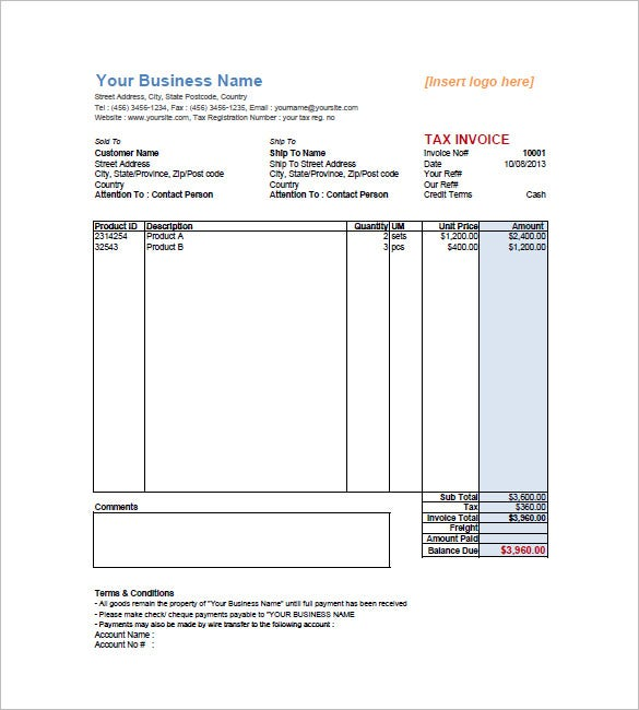 Sales Invoice Template 6 Free Sample Example Format Download
