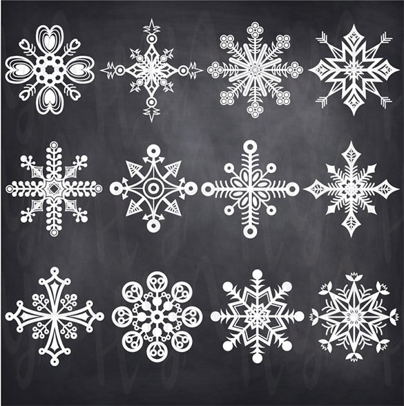 download christmas chalkboard snowflake template