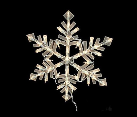 lighted snowflake christmas window silhouette