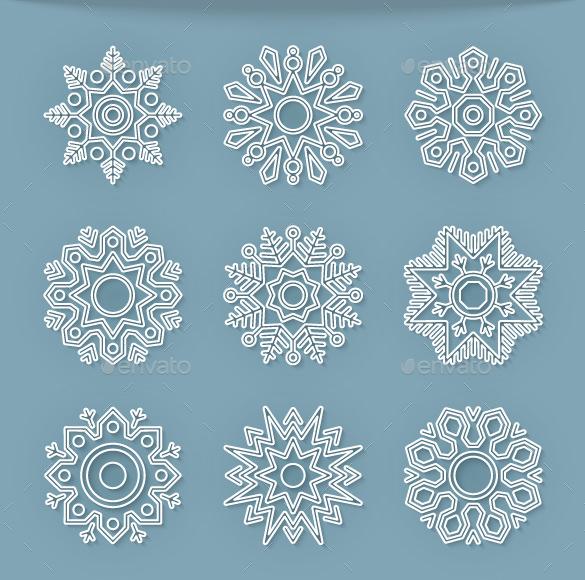 christmas flat line snowflake template vector eps