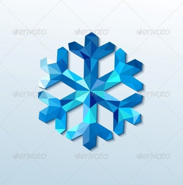 polygonal christmas snowflake template premium download