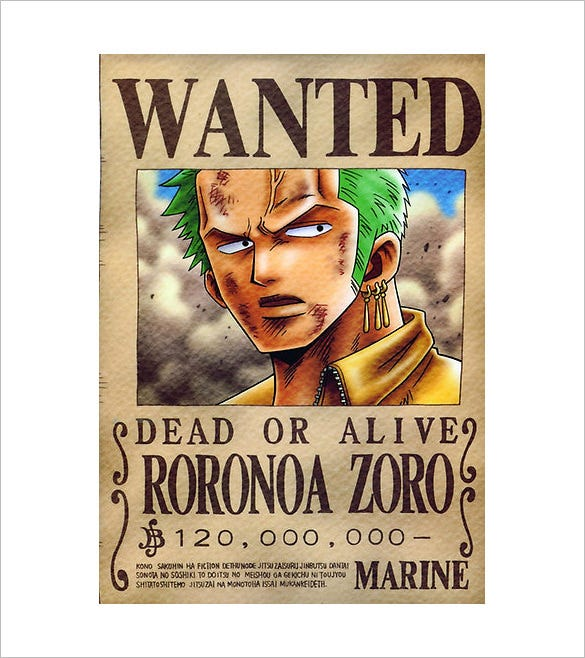 Sample One Piece Wanted Poster Template  Free Printable Wanted Poster