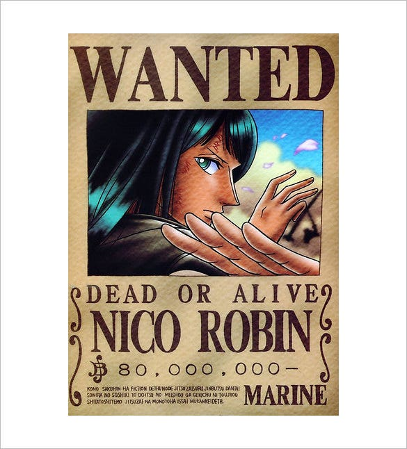 12 One Piece Wanted Poster Templates Free Printable Sample – Missing Reward Poster Template
