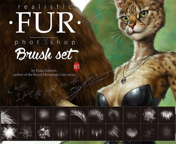 20 animal fur photoshop brushes