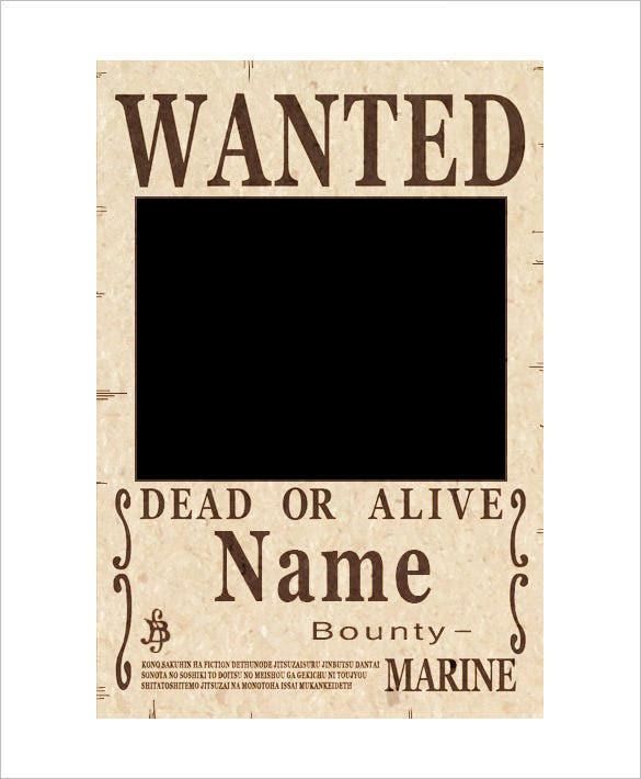 Blank One Piece Wanted Poster Example Download  Printable Wanted Poster Template