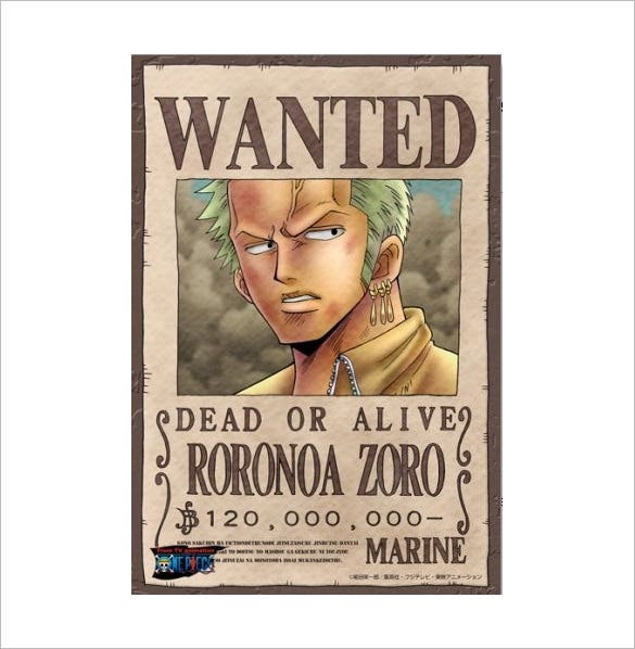 One Piece Roronoa Zoro Wanted Poster Format Download
