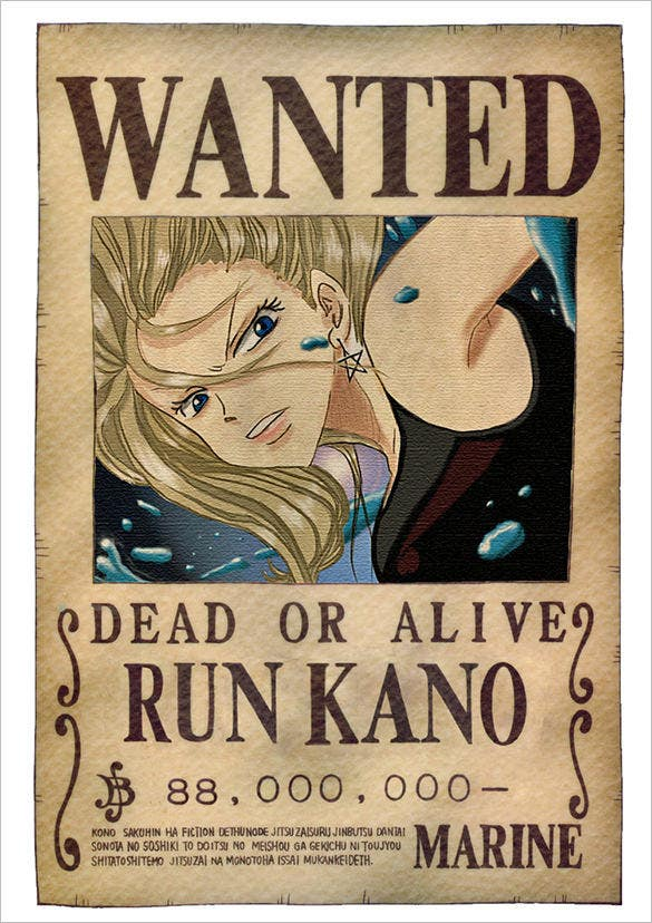One Piece Wanted Poster Sample Template  Printable Wanted Posters