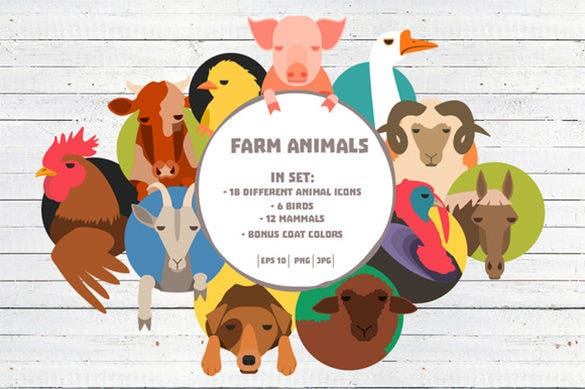 funny farm animals logo