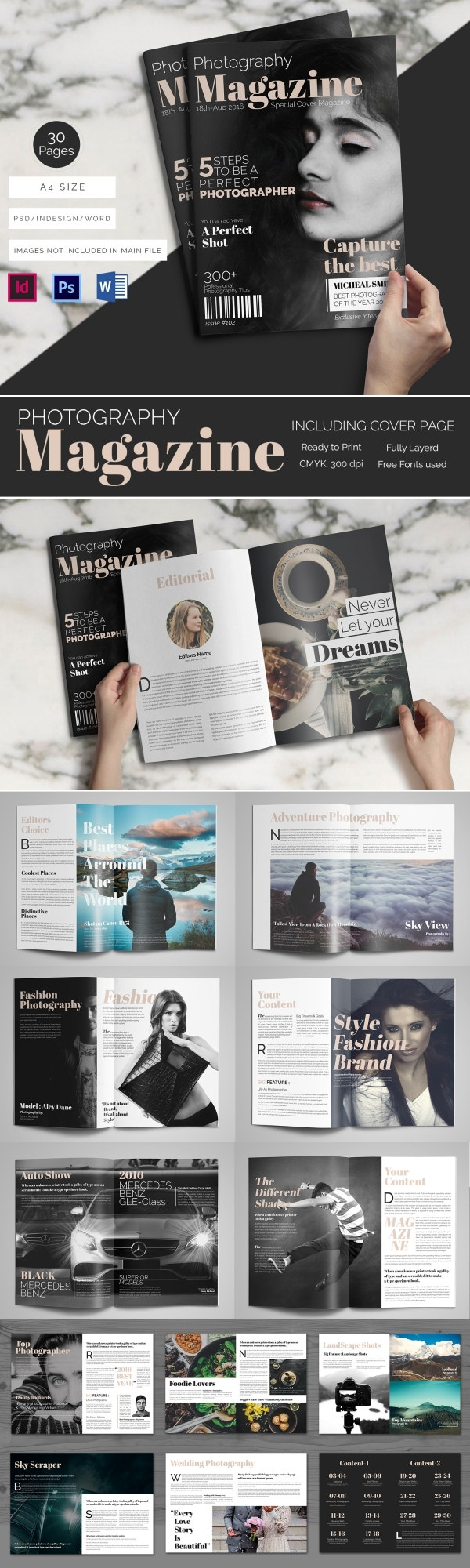 brand new magazine templates word psd eps ai perfect magazine for photographer 30 pages in word