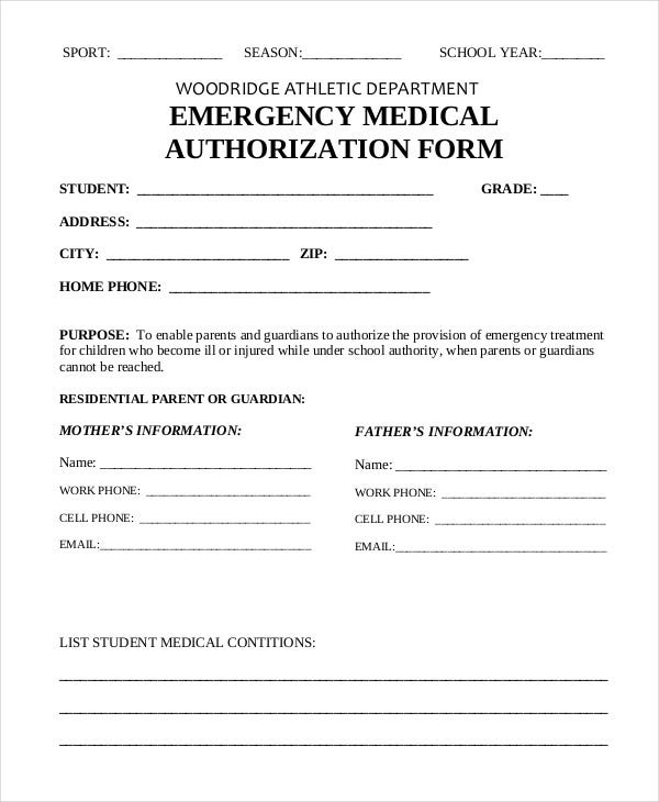 photo relating to Printable Emergency Medical Information Form known as 10+ Printable Professional medical Permission Sorts - PDF, Document Free of charge