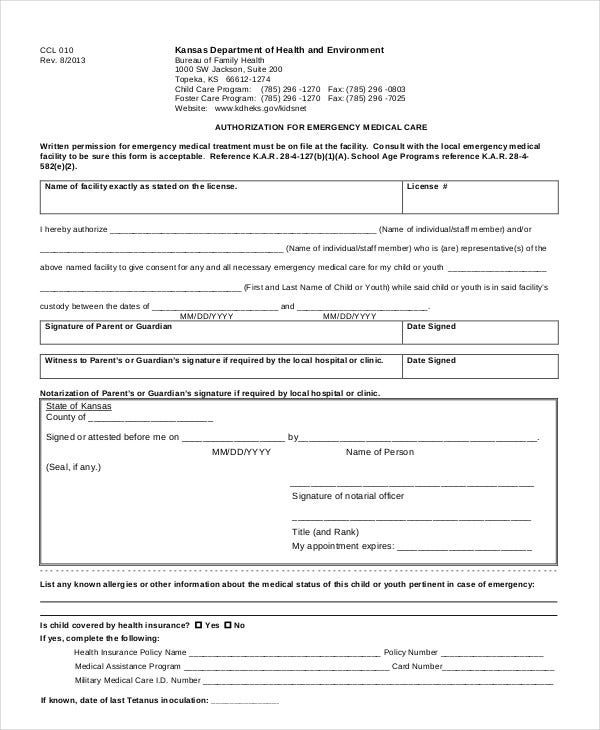 10+ Printable Medical Authorization Forms - PDF, DOC | Free ...