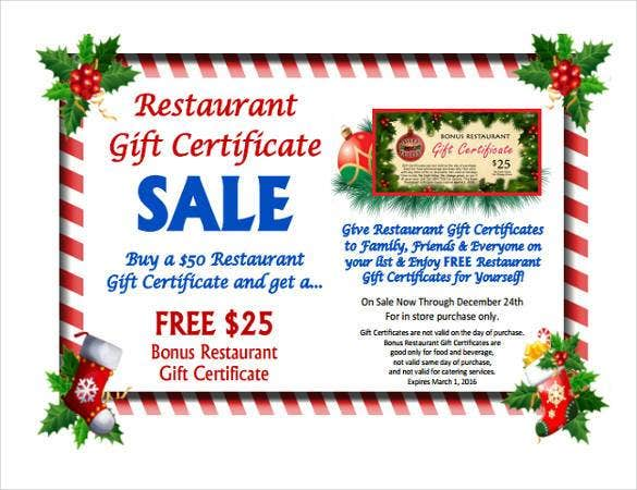 30 blank gift certificate templates doc pdf free for Dining gift certificate template