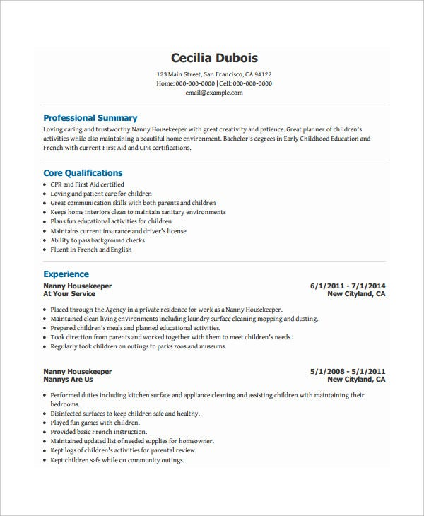 nanny housekeeper resume template download - Nanny Resume Template