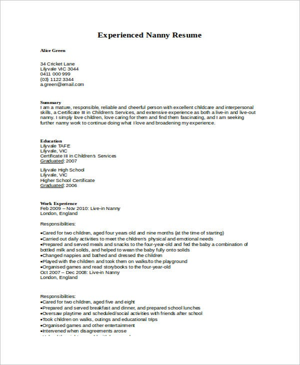 experienced nanny resume sample - Nanny Resume Sample