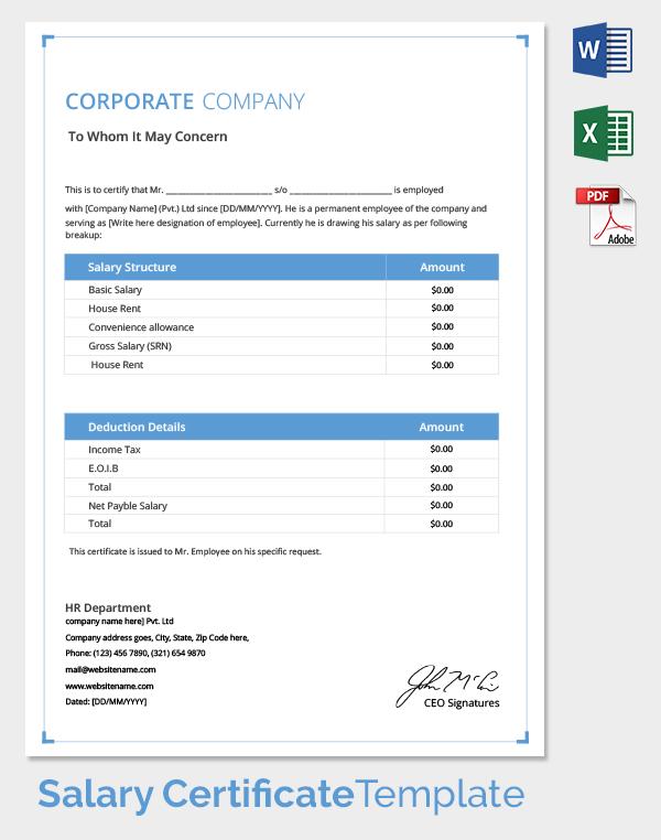 Corporate Salary Certificate Template