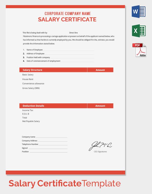 Performance Salary Certificate Template