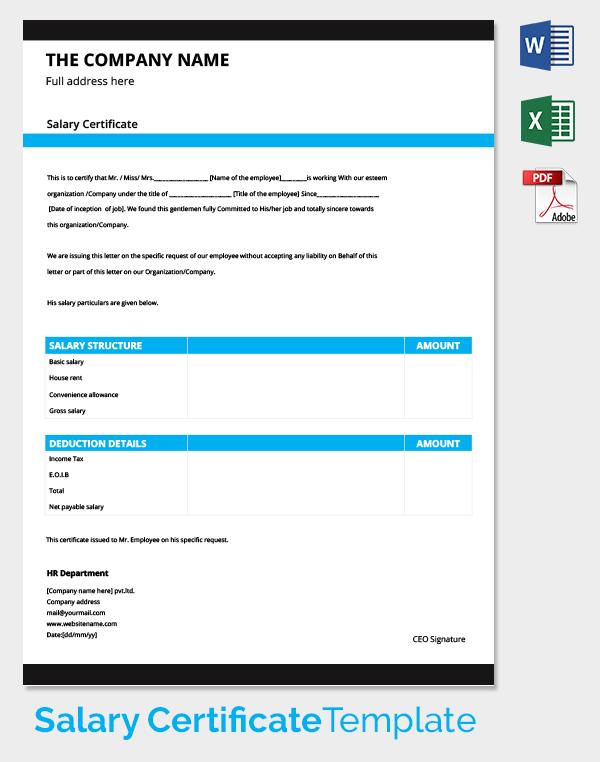 HR Salary Certificate Template