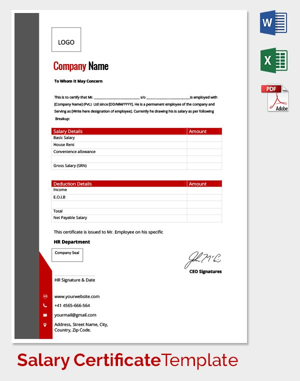 LOP Salary Certificate Template
