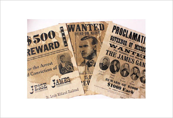 jesse james old wanted poster example downlaod