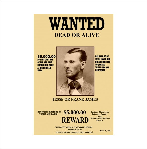 Sample Jesse James Old Wanted Poster Download  Example Of A Wanted Poster