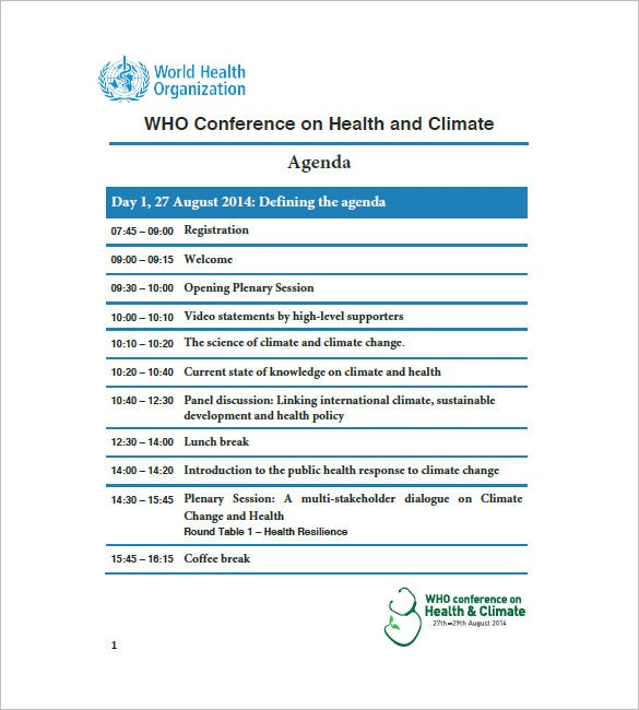 Sample Conference Agenda Template. Who.int. Free Download  Agenda Download Free