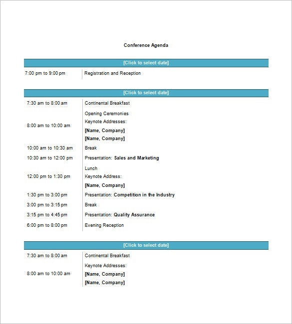 Conference Agenda Template 8 Free Word Excel PDF Format – Conference Schedule Template