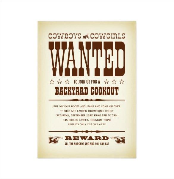 Western Wanted Poster Party Invitation Sample Download  Free Printable Wanted Poster