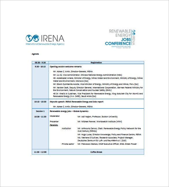 8 Conference Agenda Templates Free Sample Example Format – Research Agenda Sample