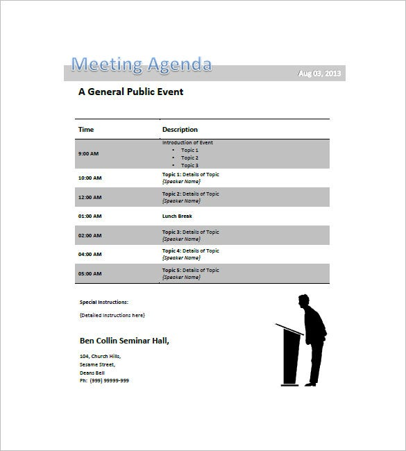 Conference Agenda Template General Public Event Meeting Agenda