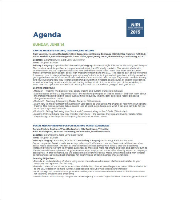 Conference Agenda Business Conference Agenda Template Conference