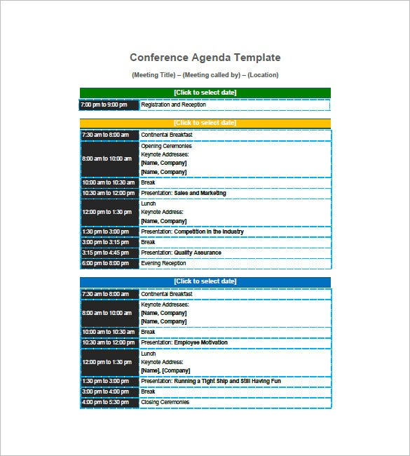 8 conference agenda templates free sample example format download free premium templates. Black Bedroom Furniture Sets. Home Design Ideas
