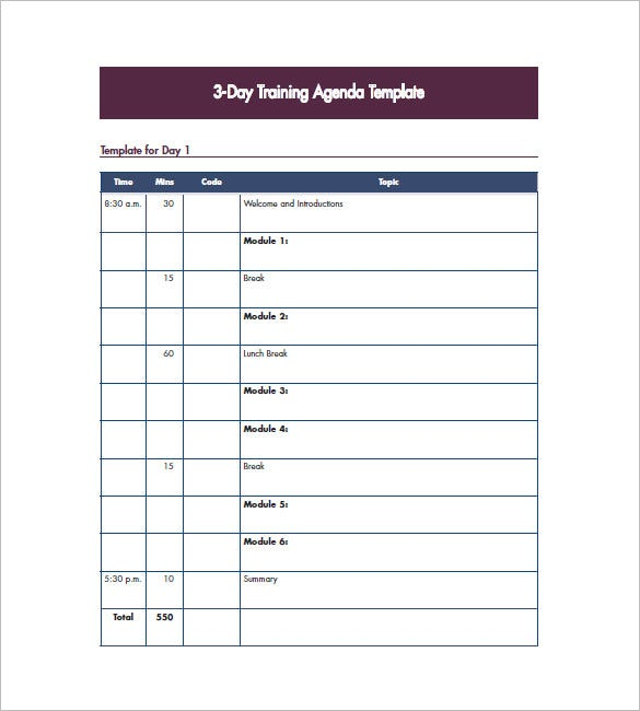 Training agenda template 8 free word excel pdf format for Training module template free