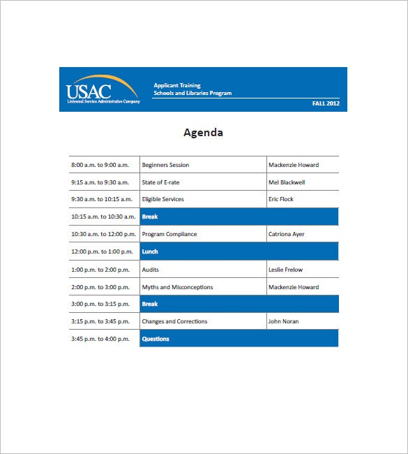 Sample Application Schools Libraries Training Agenda Template. Usac.org. Free  Download  Agenda Download Free