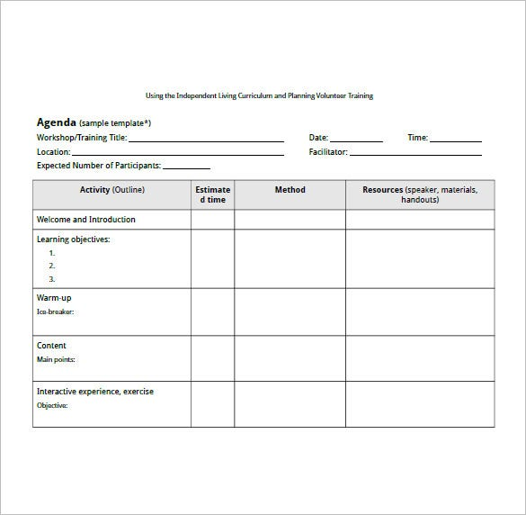 Training agenda template 8 free word excel pdf format for Training module template