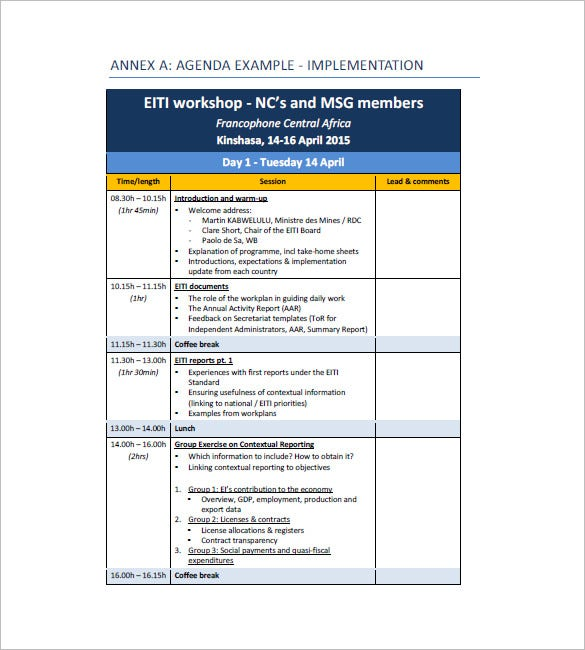 Sample workshop agenda template for Training module template free