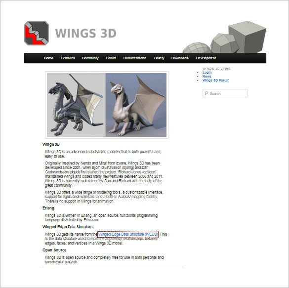 wings3d 3d modeler printing software