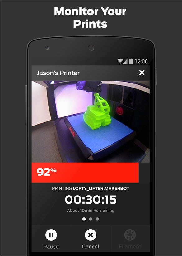 makerbot android 3d printing app