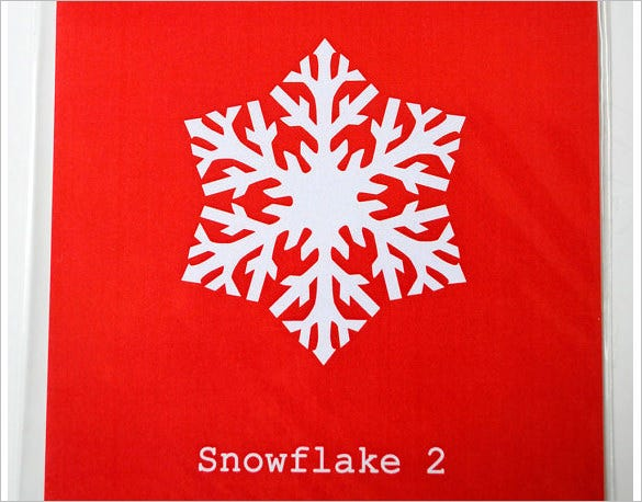 red background gift snowflake stencil template