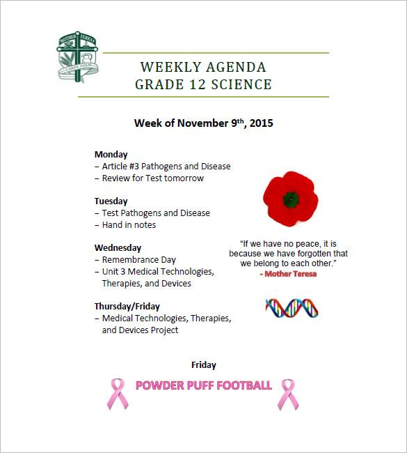 free weekly agenda template