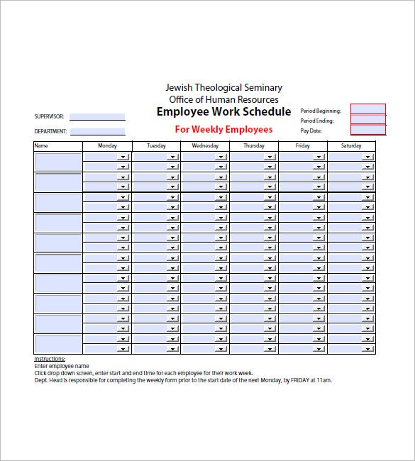 employee weekly agenda template