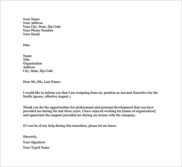 Simple Resignation Letter Templates  Free Sample Example