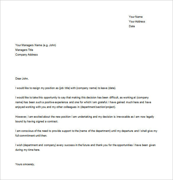 Resignation Letter Example 10 Free Word Excel PDF Format – Template for Resignation Letter Sample