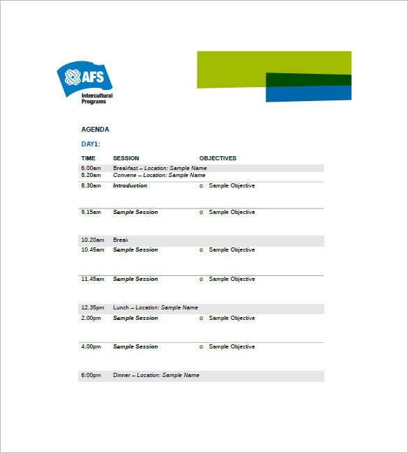 10 Event Agenda Templates Free Sample Example Format Download – Event Agenda