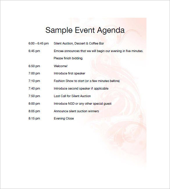 agenda template for event planning