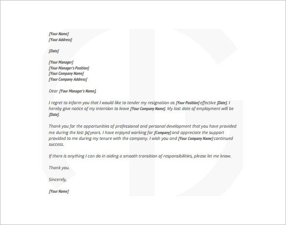 Example Employee Resignation Letter PDF Free Download  Free Sample Resignation Letter Template