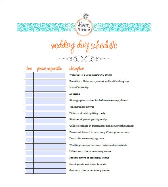 sample wedding event agenda template