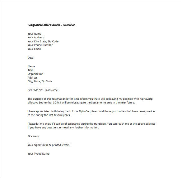 Beautiful Example Relocation Resignation Letter Free PDF Download