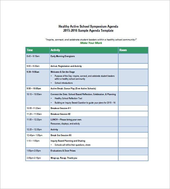 8 school agenda templates free sample example format for Stand up meeting minutes template