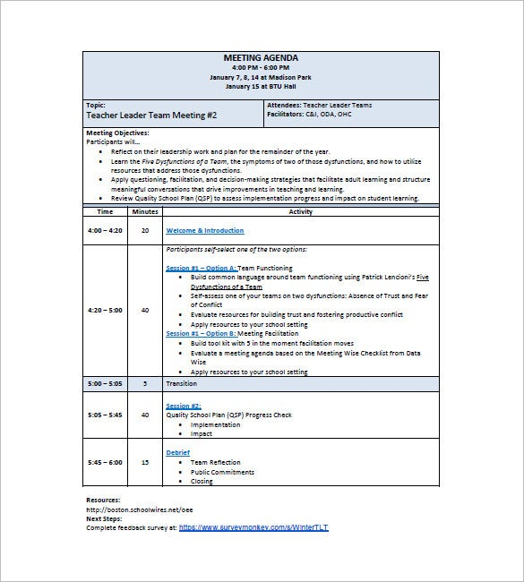 School Agenda Template School Agenda Template Doc Sample School – Sample Agenda Planner