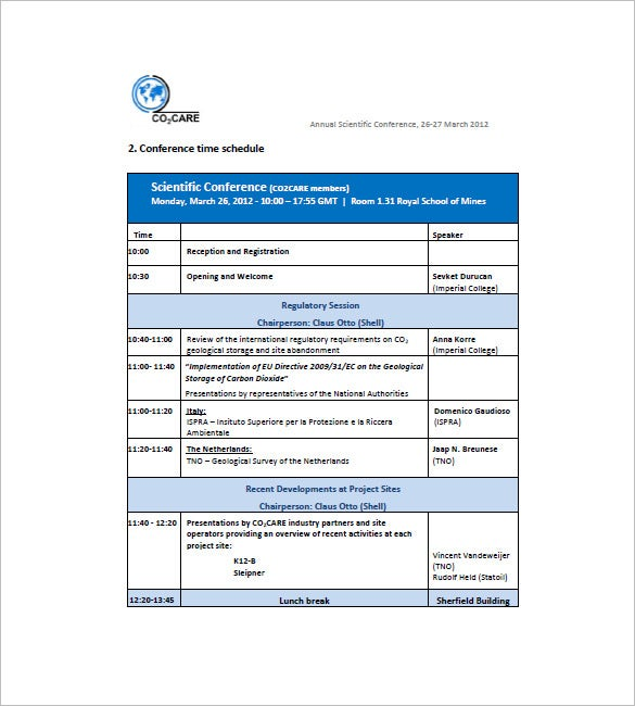 School Agenda Template 8 Free Word Excel PDF Format Download – Conference Schedule Template